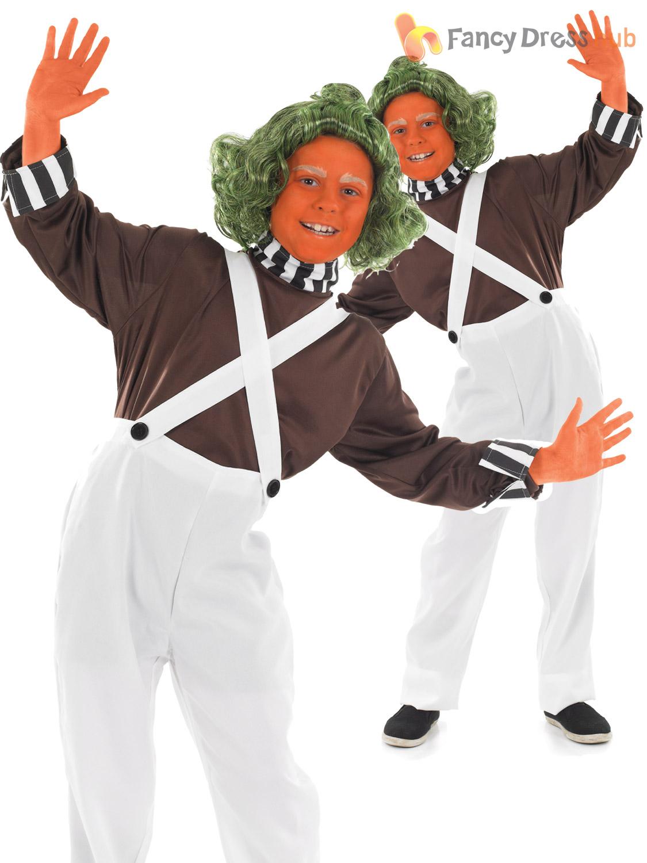 Kids Umpa Loompa Fancy Dress Costume Wonka Oompa Chocolate Factory ...
