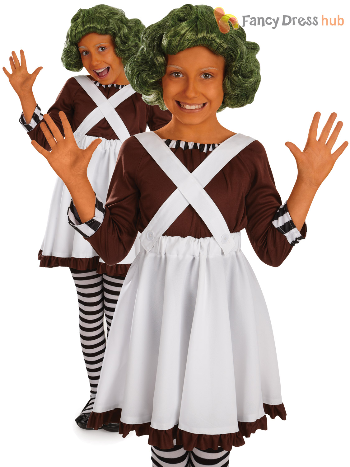 Kids Umpa Loompa Fancy Dress Costume Wonka Oompa Chocolate ...