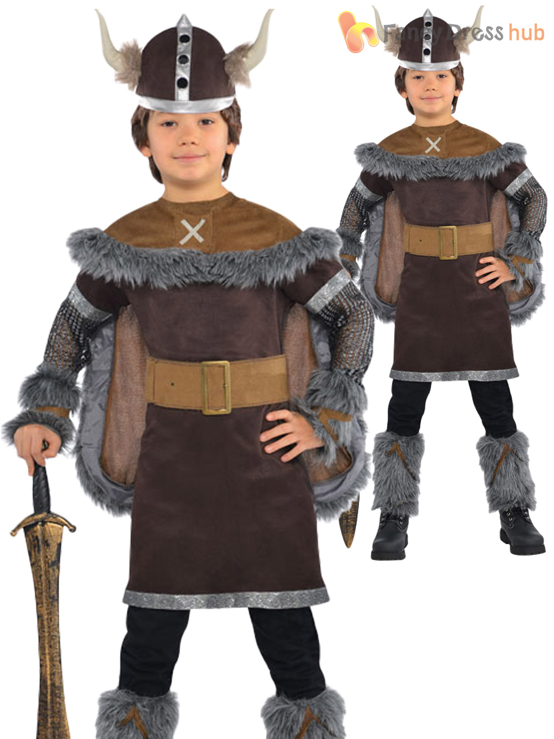 Boys Viking Warrior Costume Childs Saxon Outfit + Hat Kids Medieval Book Week