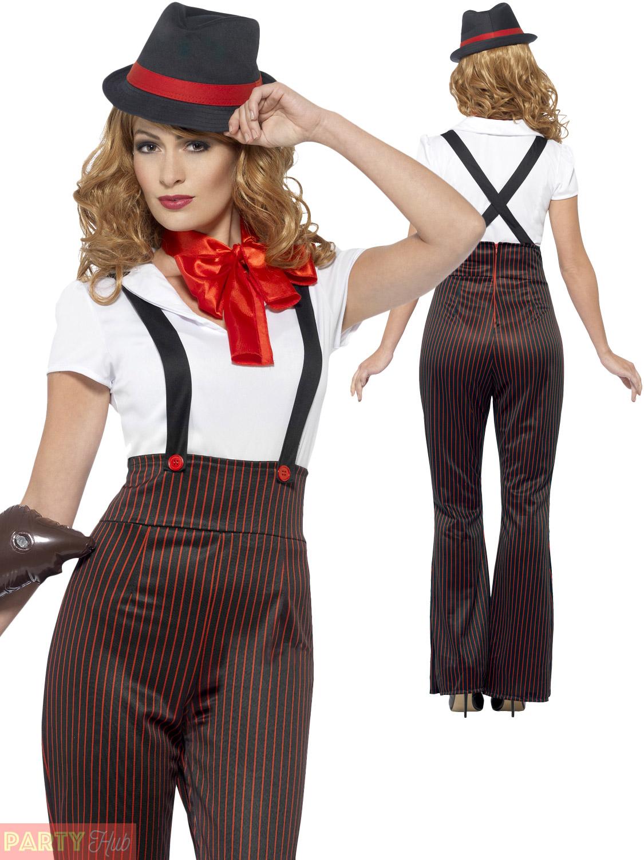 malaticcio MOLL Costume Vestito da donna 20s Donna Glam Costume da gangster adulti..
