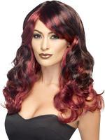 Ladies Black & Red Devilish Ombre Wig