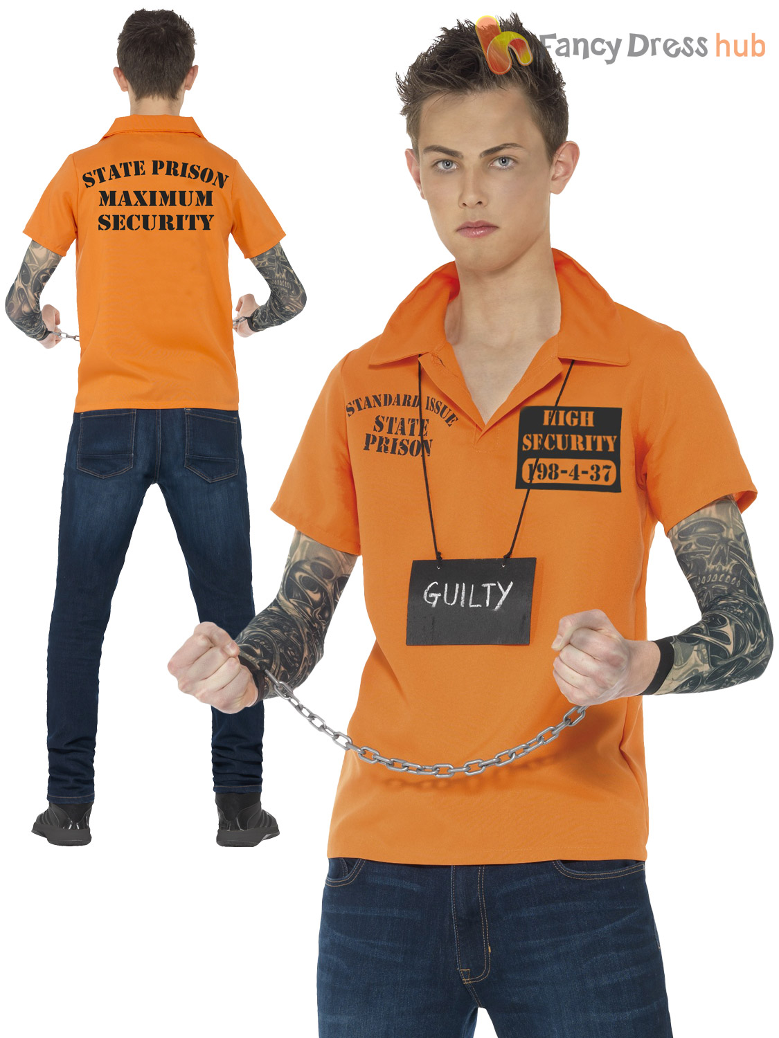 Teen-Convict-Costume-Boys-Cop-Fancy-Dress-Child-  sc 1 st  eBay & Teen Convict Costume Boys Cop Fancy Dress Child PC Cop Prisoner ...