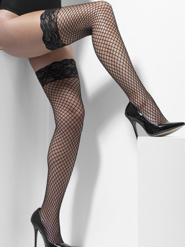 Ladies Black Lattice Hold-Ups