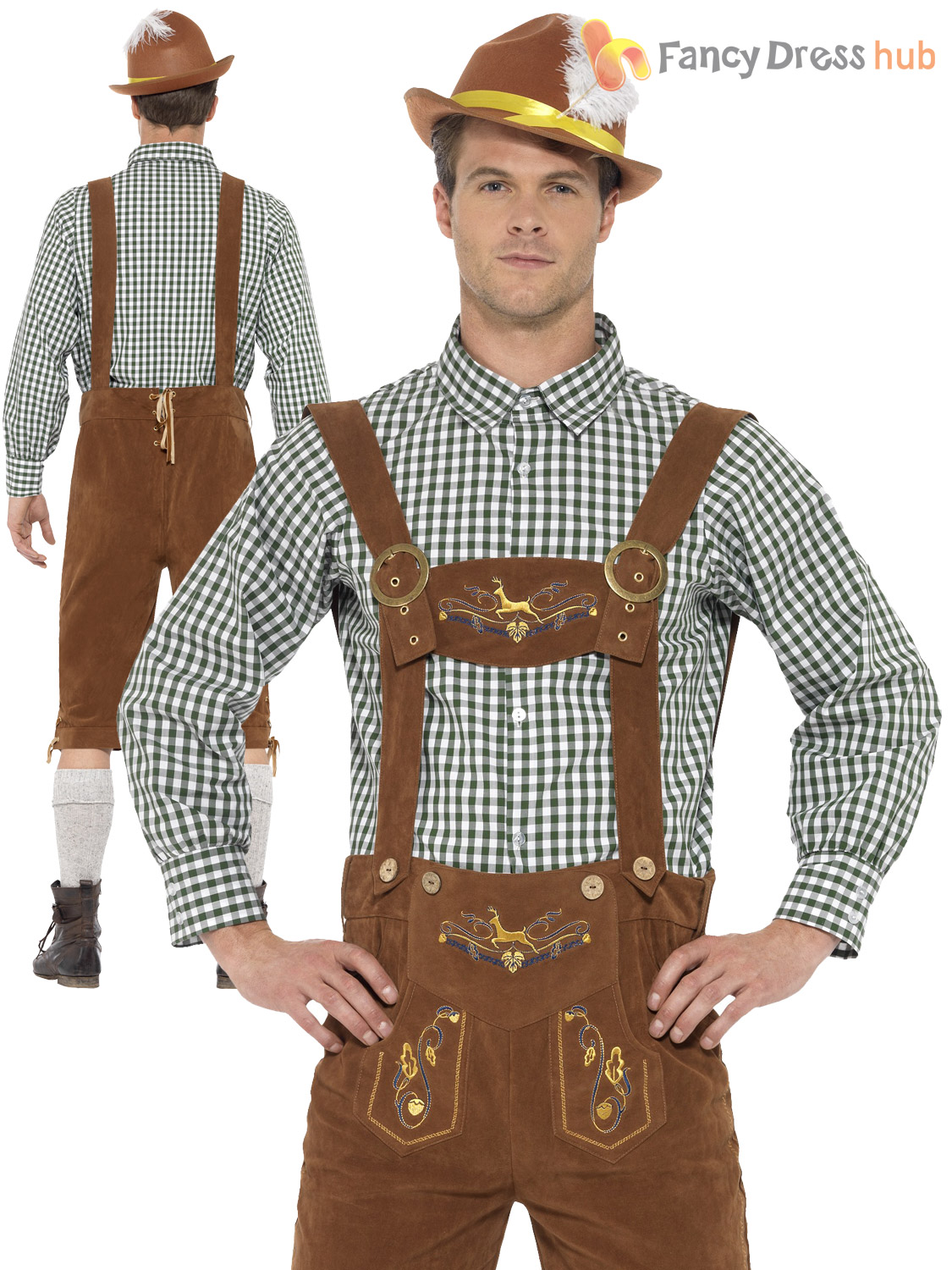 Men-Traditional-Bavarian-Costume-Adult-Oktoberfest-Lederhosen-Deluxe-  sc 1 st  eBay & Men Traditional Bavarian Costume Adult Oktoberfest Lederhosen Deluxe ...