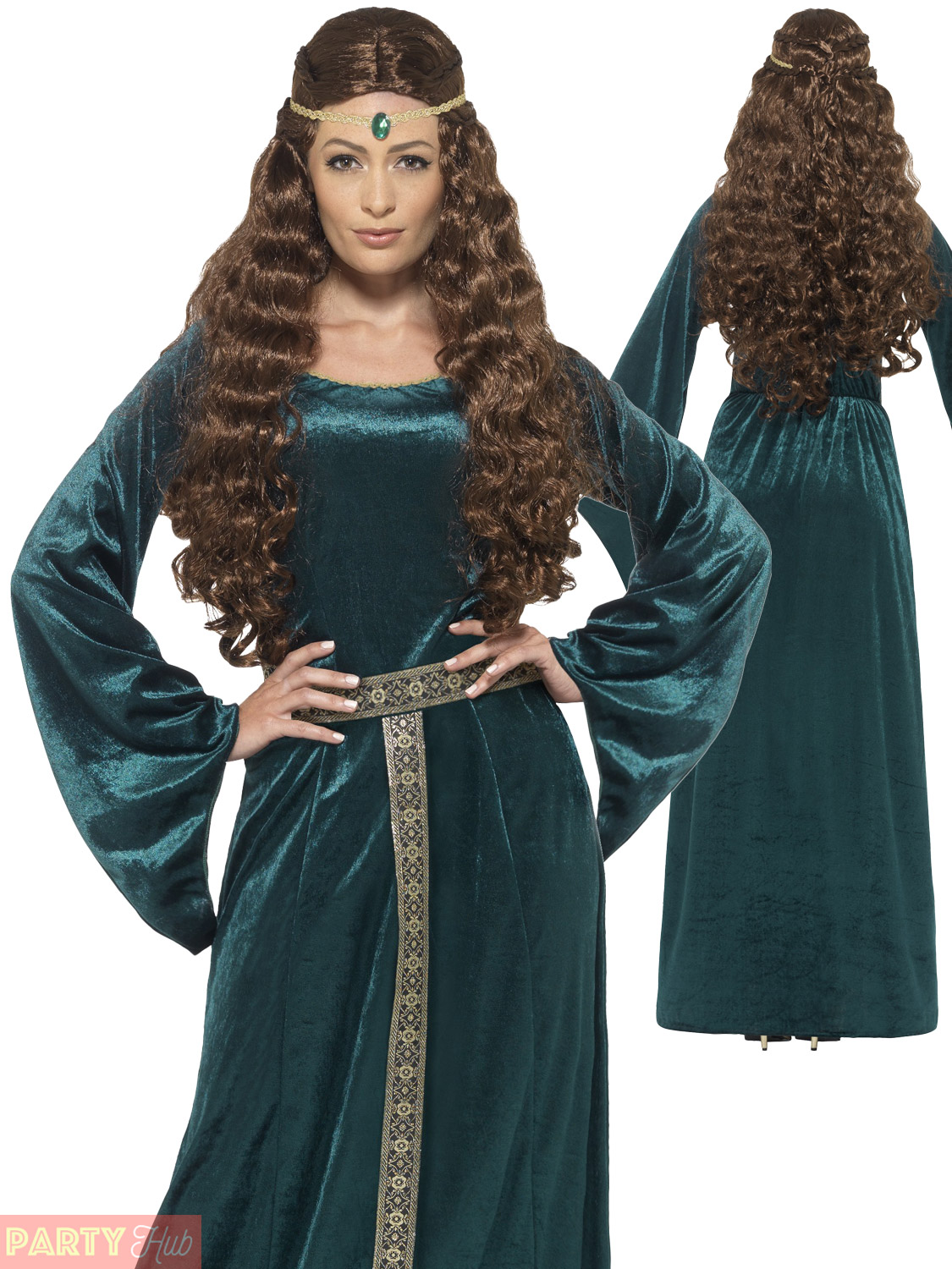Ladies Medieval Maid Costume Adults Robin Hood Marion Fancy Dress Womens Outfit
