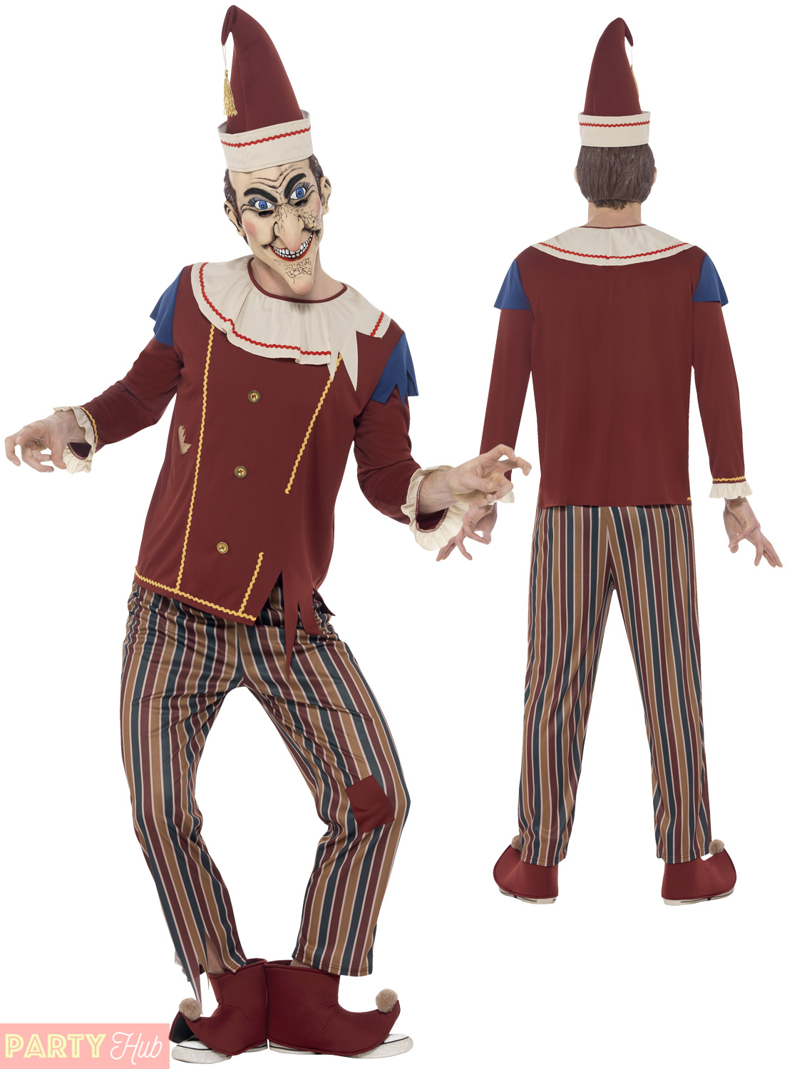 Mens Ladies Possessed Punch Judy Costume Couples Halloween Fancy Dress Jester