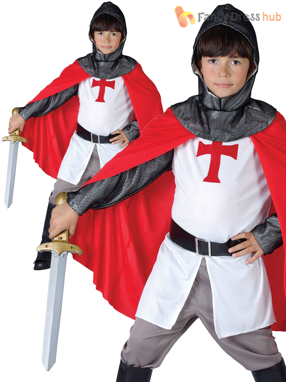 Boys Medieval Knight Crusader Fancy Dress Costume St George Camelot Kids Child