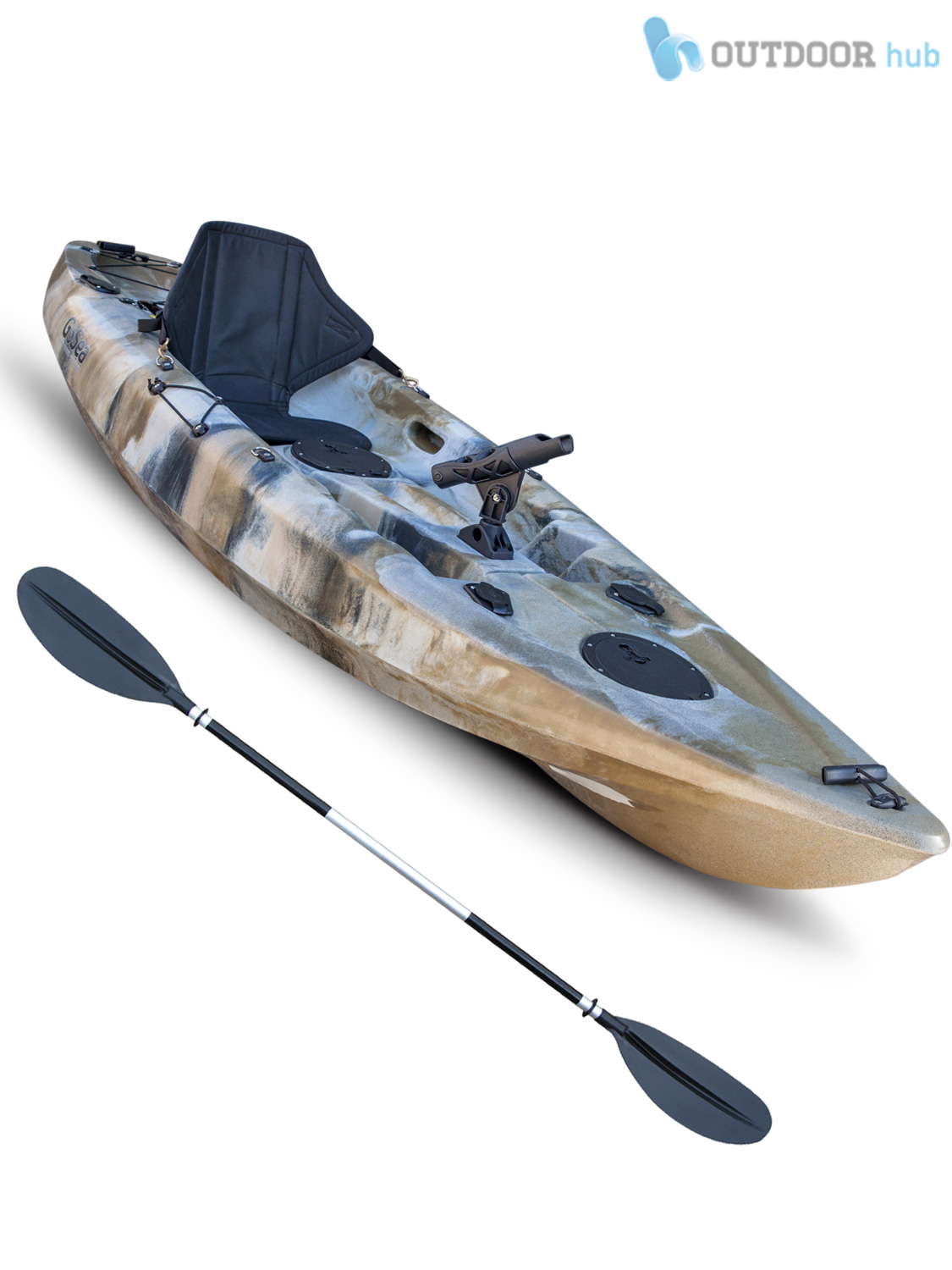 Sit on top kayak single fishing ocean canoe gosea angler for Sit on vs sit in kayak for fishing