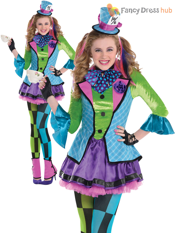 Girls Alice Mad Hatter Queen Of Hearts Costume Teen Book ...
