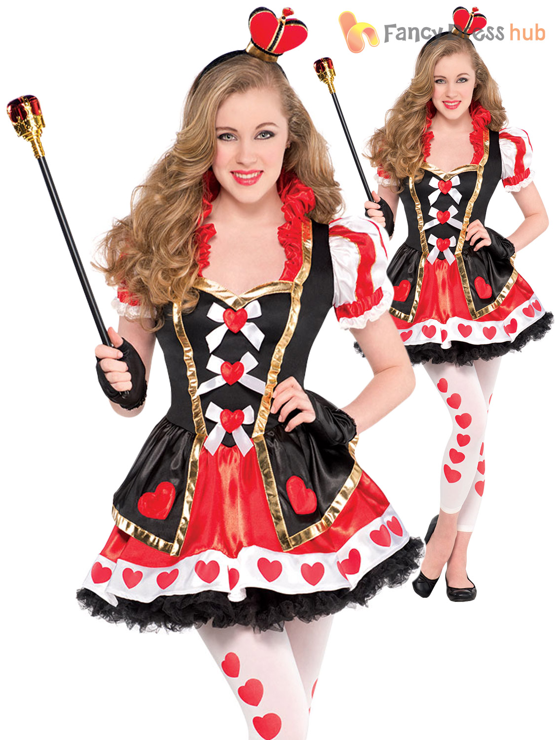 Girls Alice Mad Hatter Queen Of Hearts Costume Teen Book ...