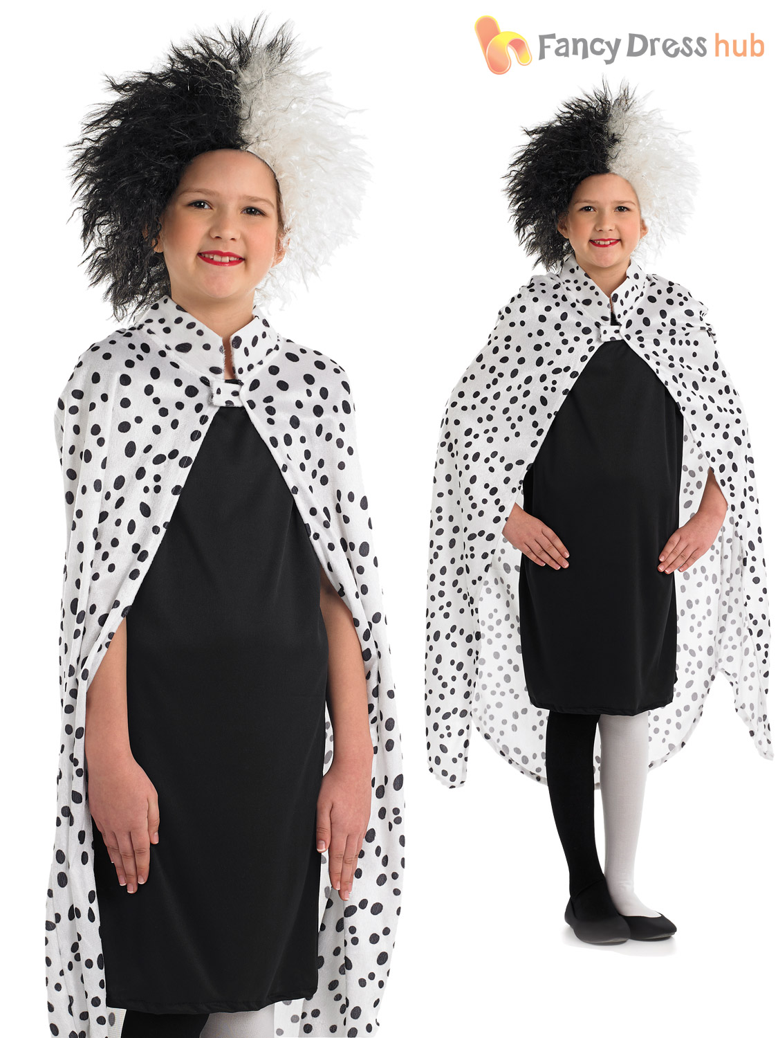girl 39 s cruella deville costume childs 101 dalmatian fancy dress book week outfit ebay. Black Bedroom Furniture Sets. Home Design Ideas
