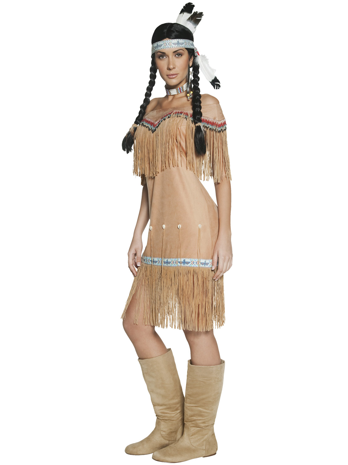 Adults Native Indian Costume Ladies Pocahontas Fancy Dress