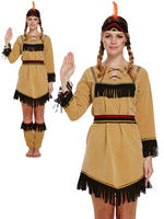 Ladies Deluxe Red Indian Costume