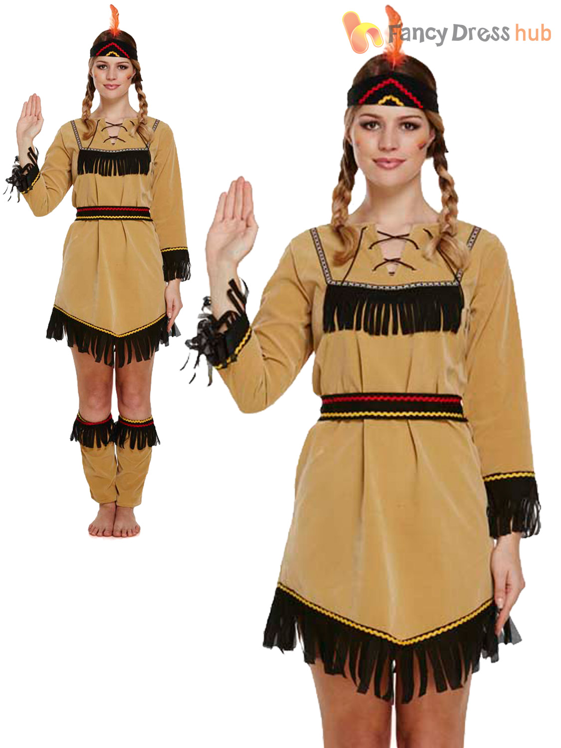 Ladies Deluxe Red Indian Costume Adult Pocahontas Native