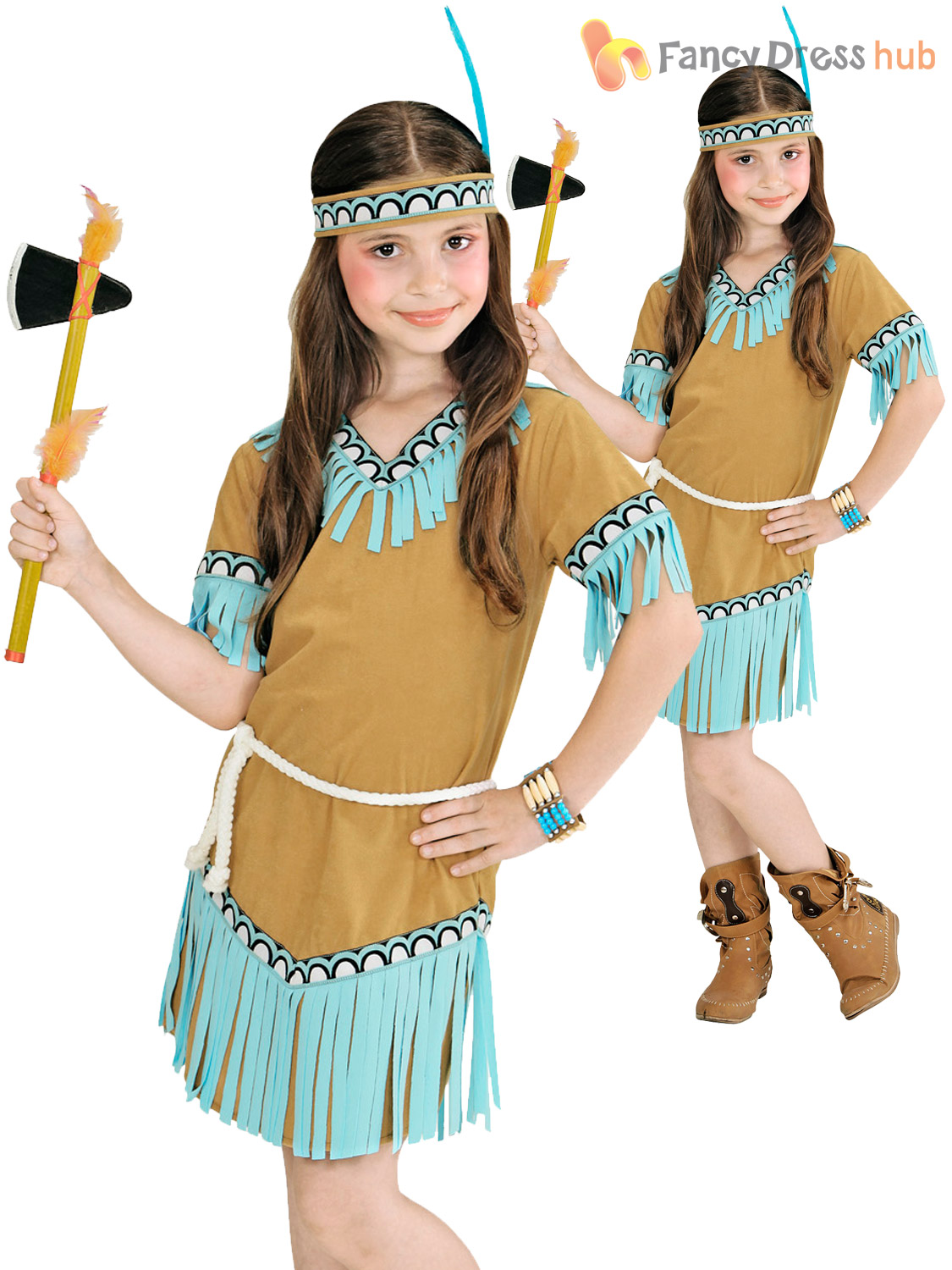 Child Indian Girl Costume Girl Native American Fancy Dress Kids Book ... 20a493f66096