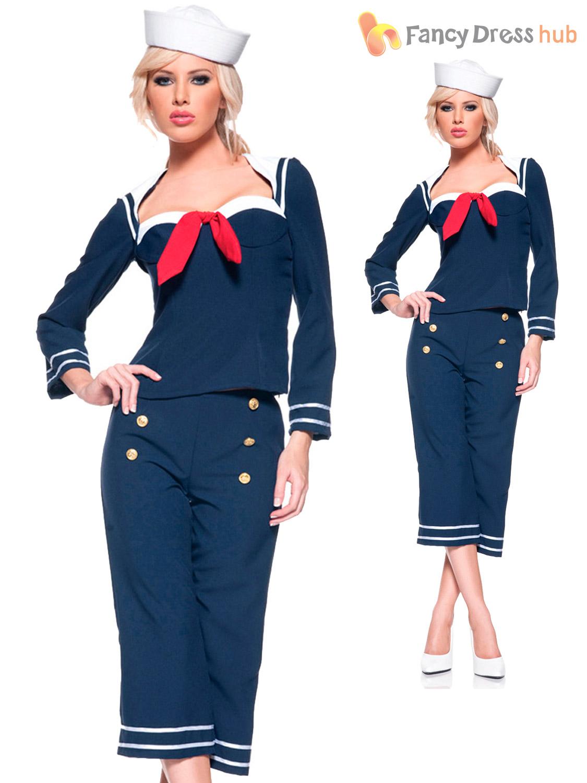 0e207b5c14f Ladies Pin Up Sailor Girl Costume Adults 1950s Navy Fancy Dress ...