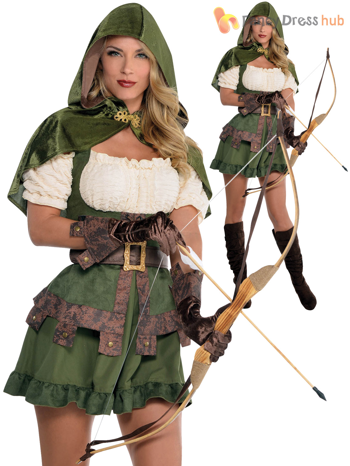 Ladies Sexy Robin Hood Costume Adults Maid Marion Fancy ...