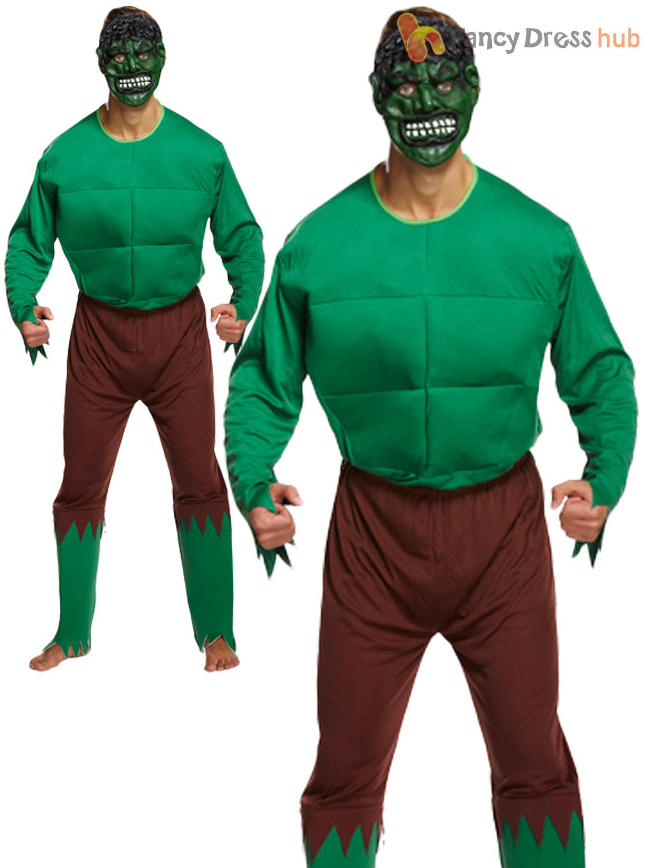 Mens Hulk Costume Adults Green Giant Fancy Dress Monster ...