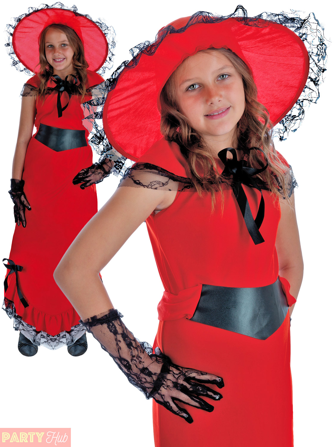 Childrens Scarlet O Hara Costume Girls Victorian Fancy Dress Book Week Outfit