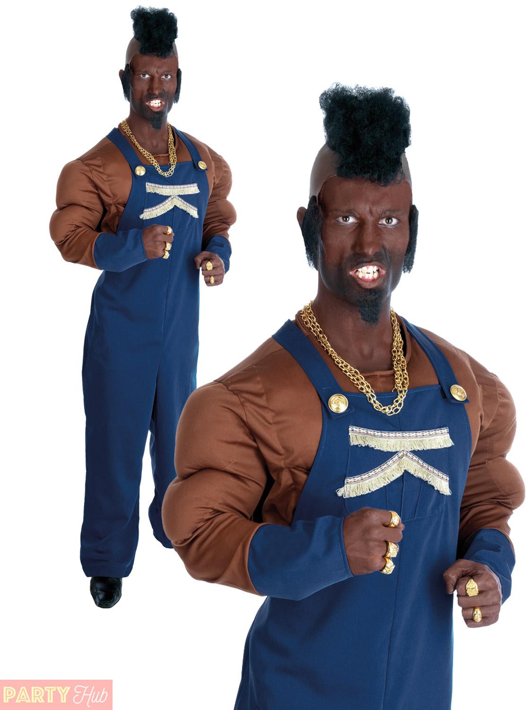 Mens Mr T 80s Costume Baracus BA A Team Adult Fancy Dress ...