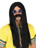 Men's Black Hippie Wig
