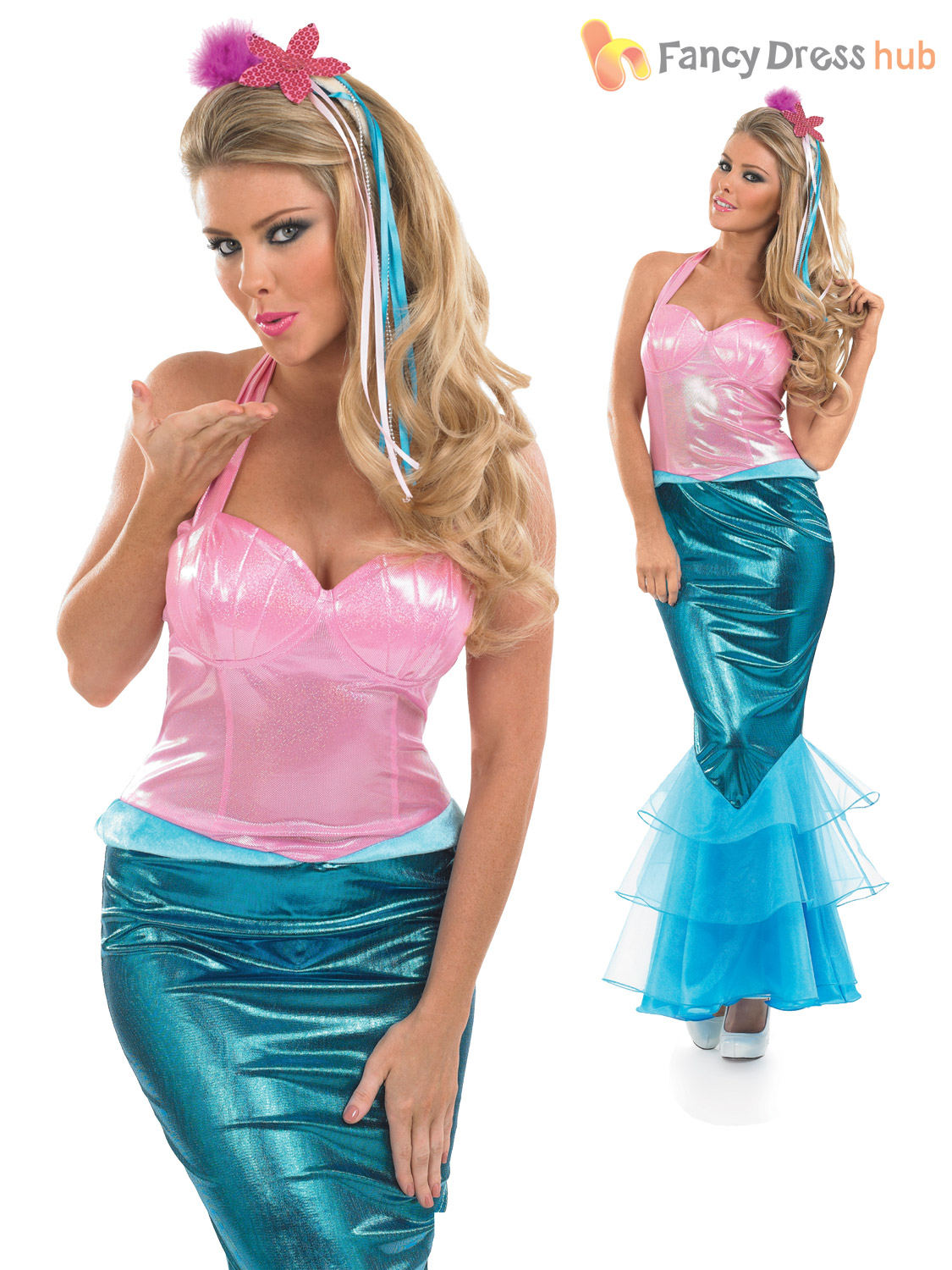 Ladies-Little-Mermaid-Costume-Adult-Sexy-Sea-Fancy-  sc 1 st  eBay & Ladies Little Mermaid Costume Adult Sexy Sea Fancy Dress Womens ...