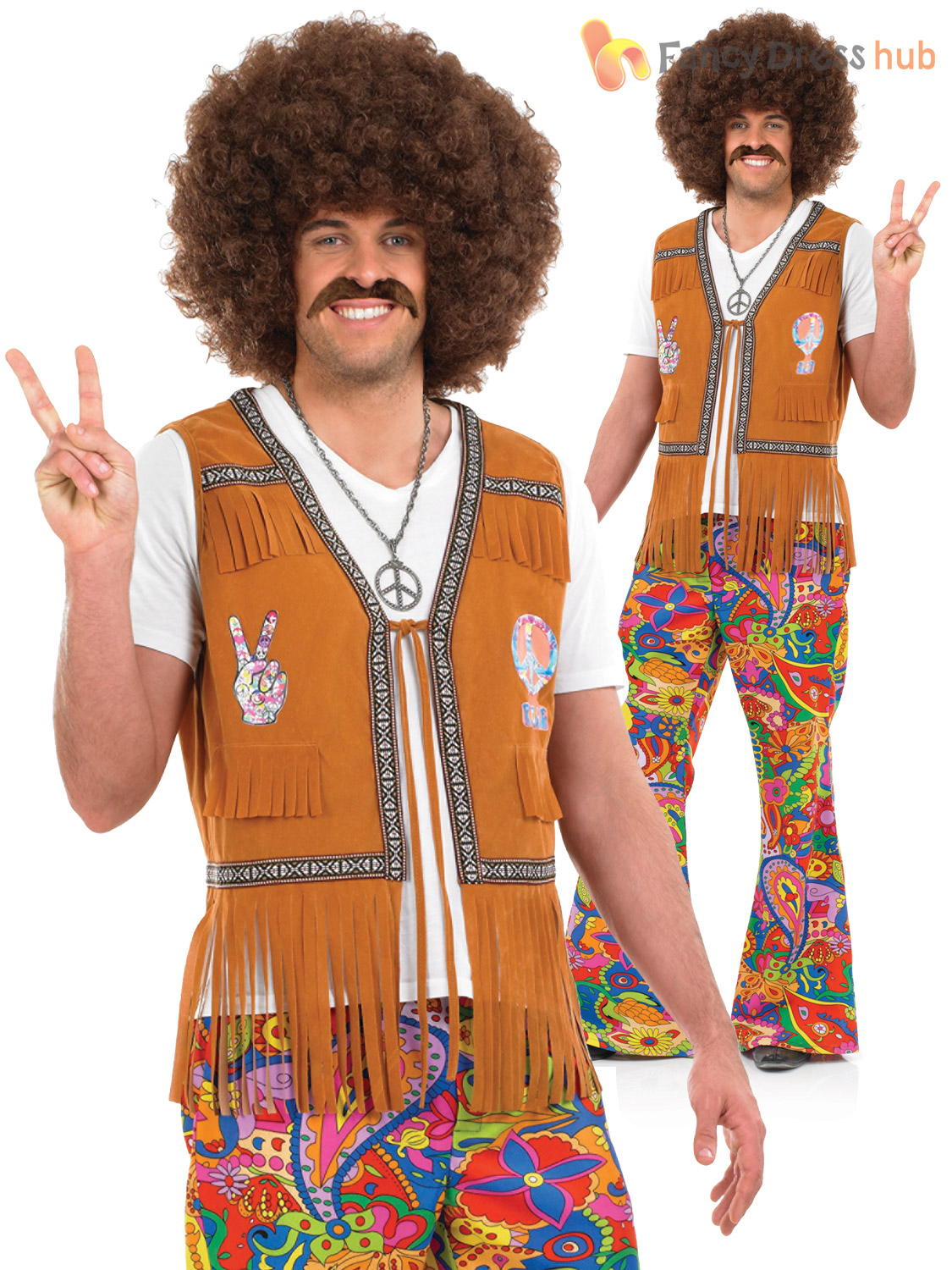 Adults-60s-Psychedelic-Flares-Mens-Ladies-70s-Hippy-  sc 1 st  eBay & Adults 60s Psychedelic Flares Mens Ladies 70s Hippy Fancy Dress ...