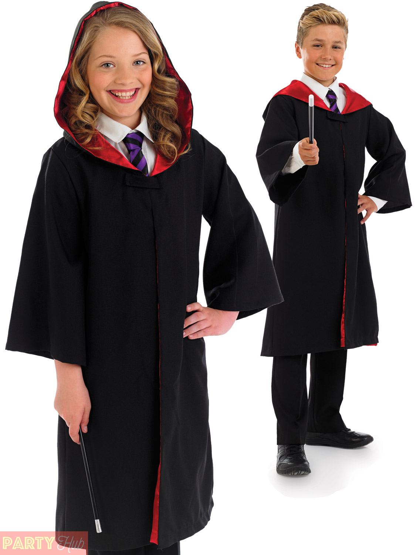 Child Wizard Costume Boys Girls Fancy Dress Cloak Kids Harry World ...