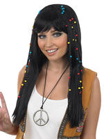 Ladies Black Braided Hippie Wig