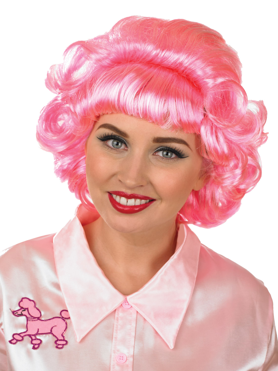 ladies frenchy wig adults 1950s frenchie pink fancy dress costume accessory ebay. Black Bedroom Furniture Sets. Home Design Ideas