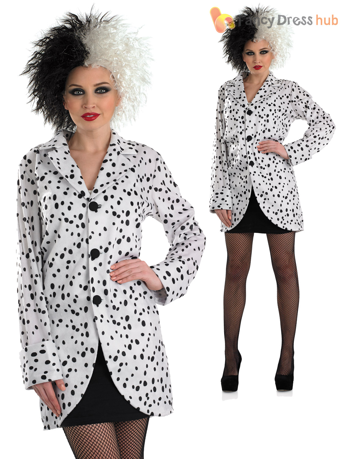 ladies cruella de ville dalmatian jacket costume adult book week day fancy dress ebay. Black Bedroom Furniture Sets. Home Design Ideas