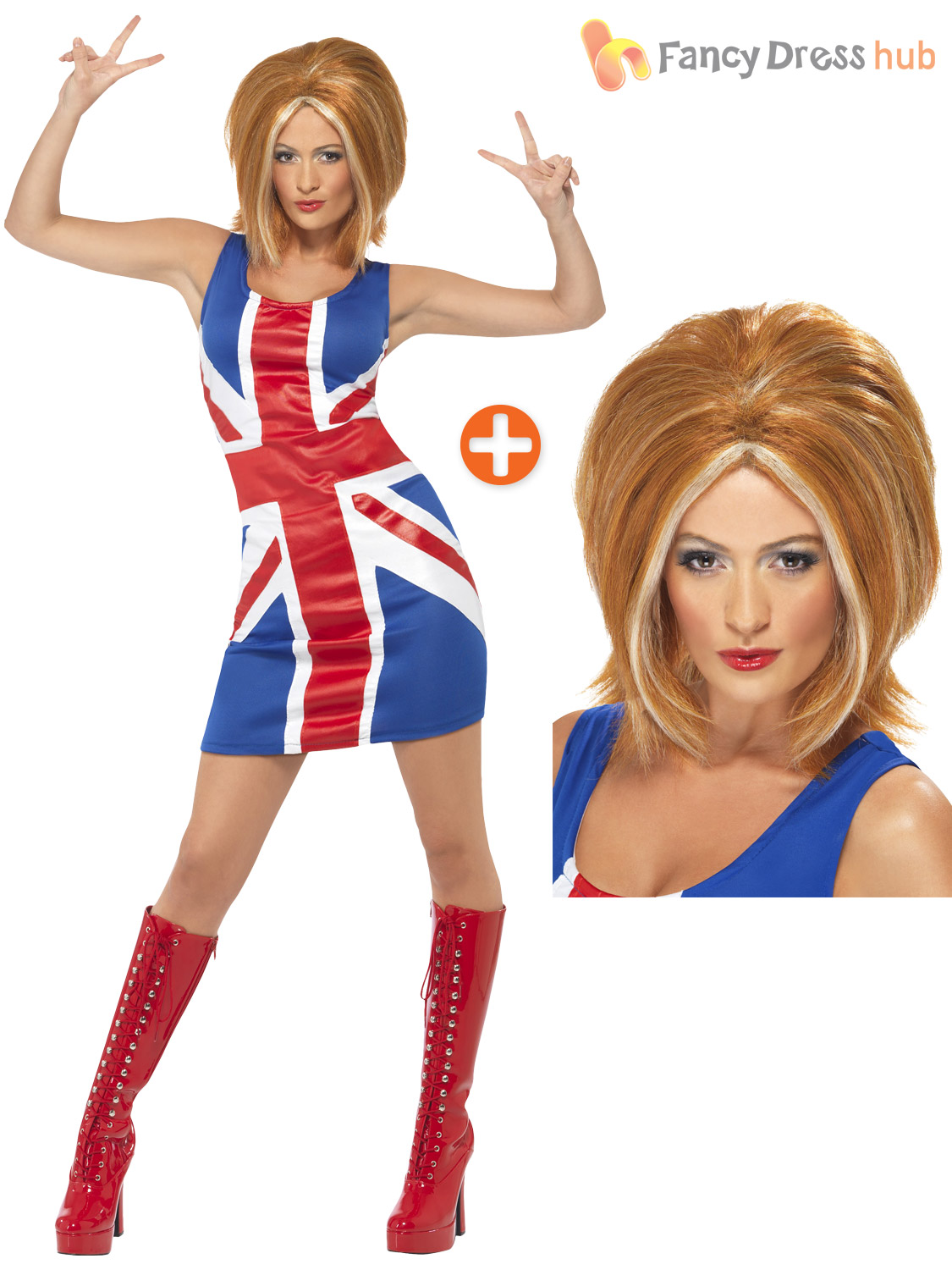 Ladies Ginger Spice Costume Adults Spice Girls Fancy Dress Union ...