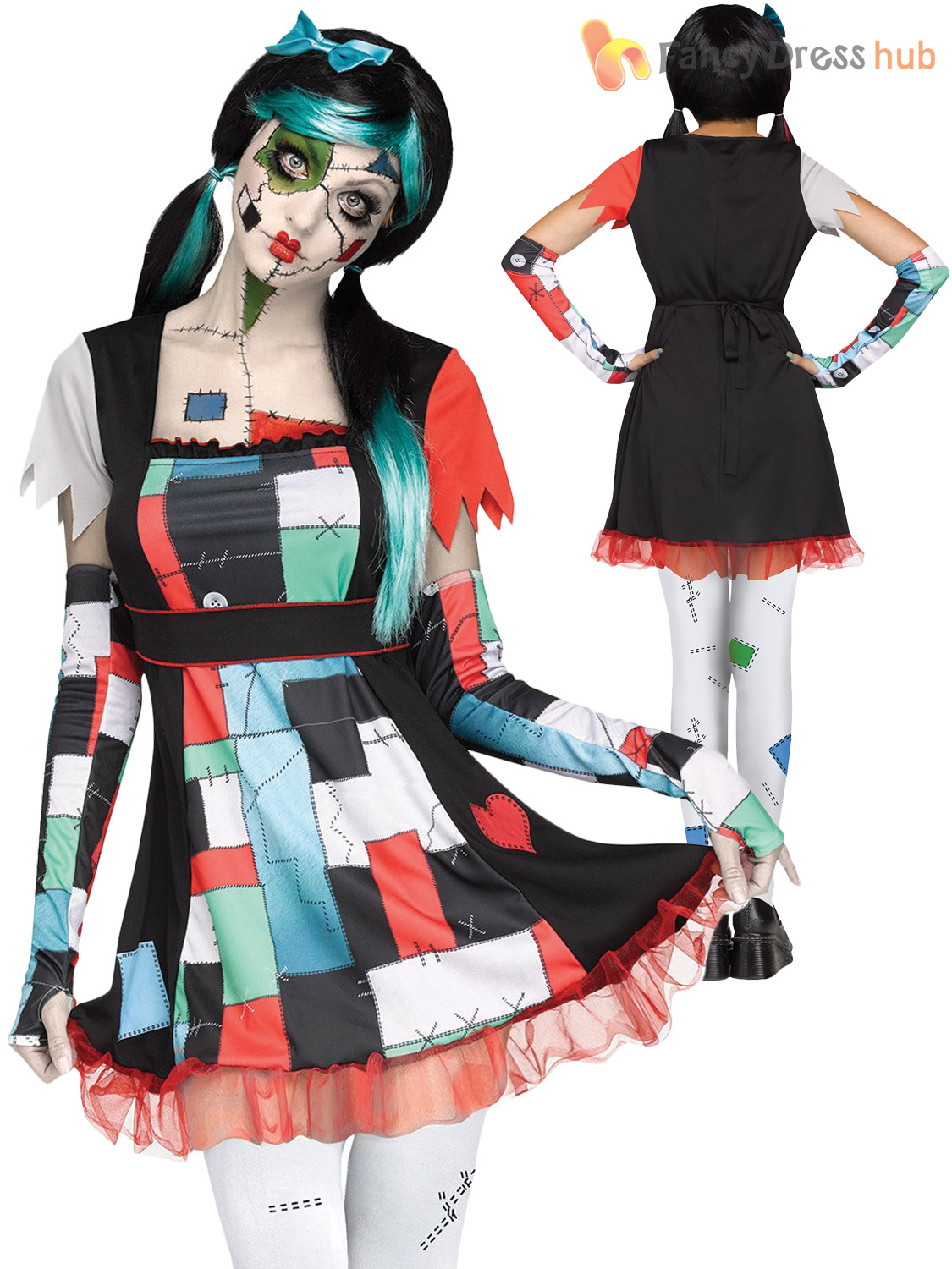 Childrens Shattered Doll Costume Girls Teen Halloween Fancy Dress Zombie Outfit