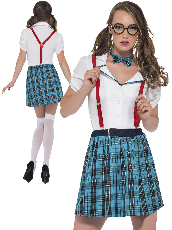 Ladies Geek Girl School Uniform Costume Adult Fancy Dress Nerd Outfit Sexy Hen | eBay