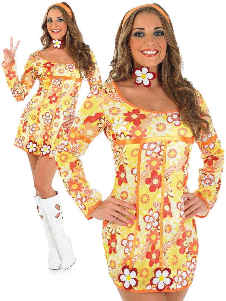 Ladies Yellow Hippie Dress
