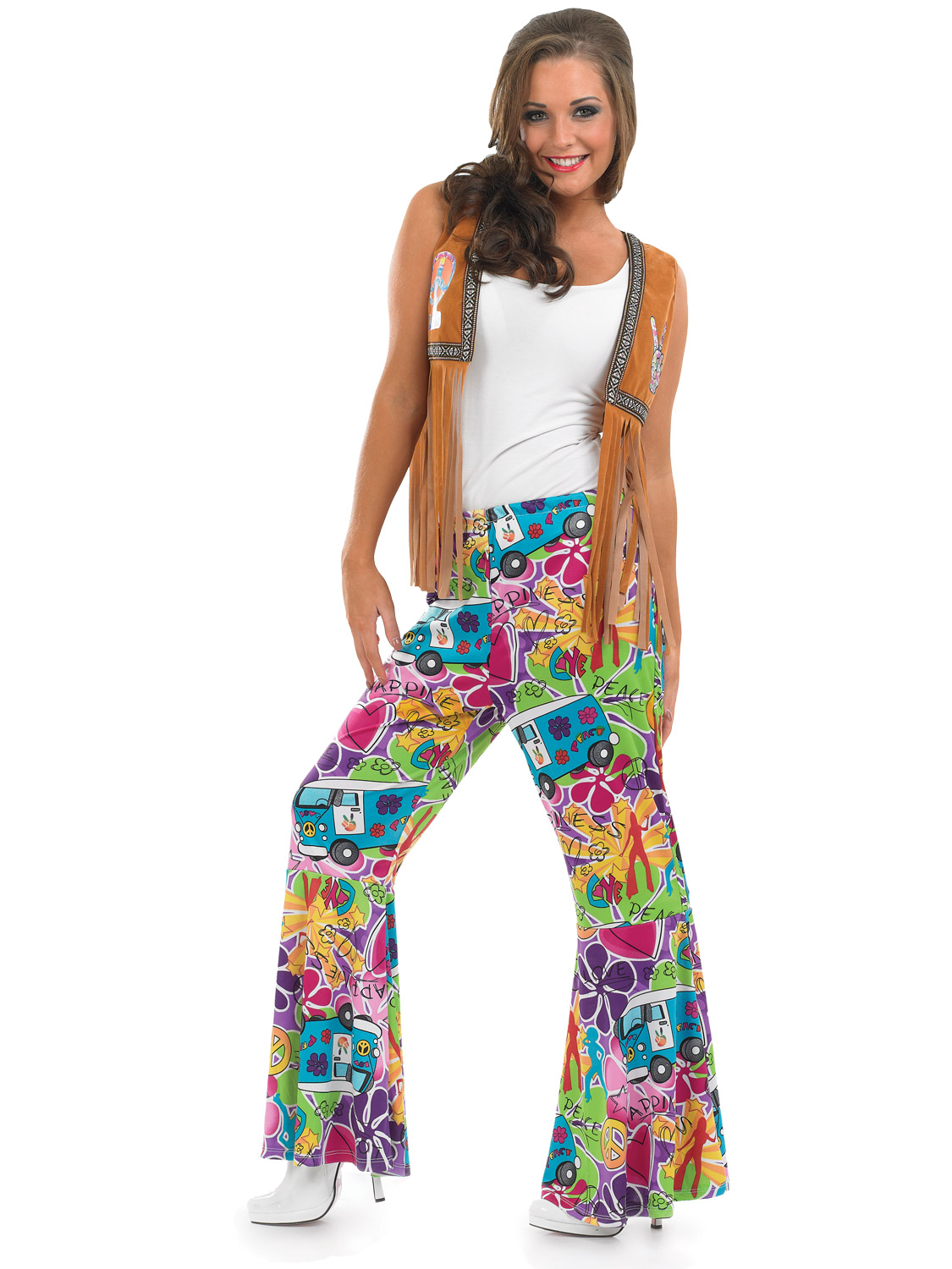 Adults 60s Psychedelic Flares Mens Ladies 70s Hippy Fancy ...