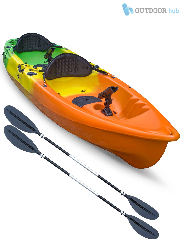 Sit on top kayak double fishing canoe rod holders hatch for Sit on fishing kayak