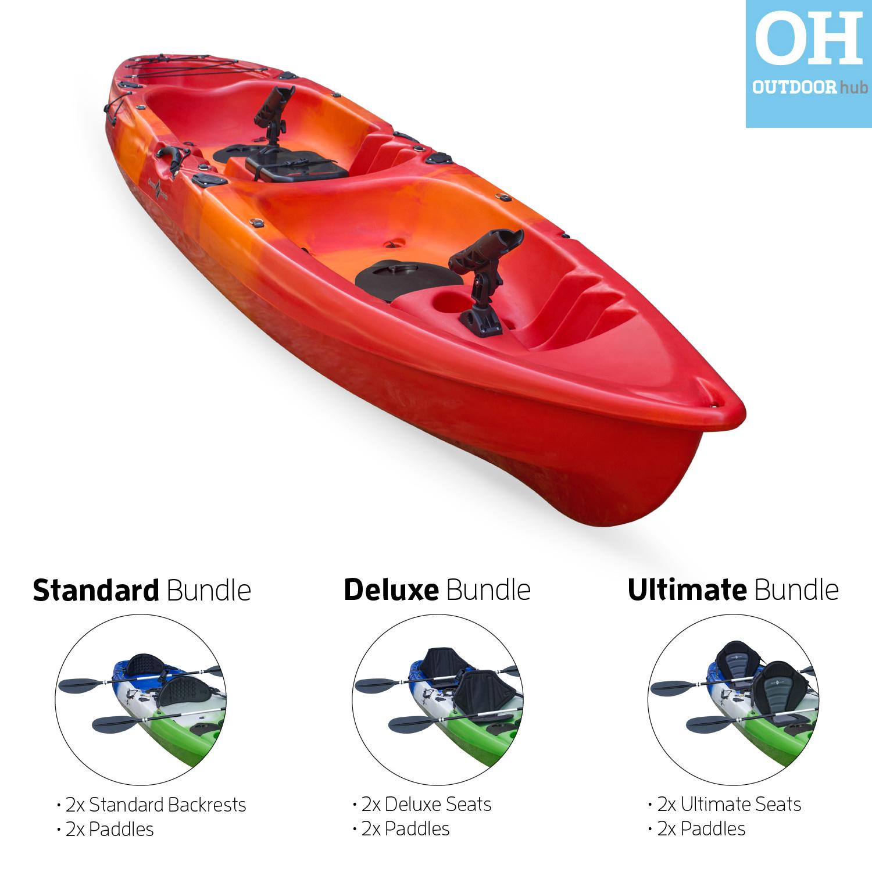 Tandem kayak sit on top double fishing rod holders 2 man for Double fishing kayak