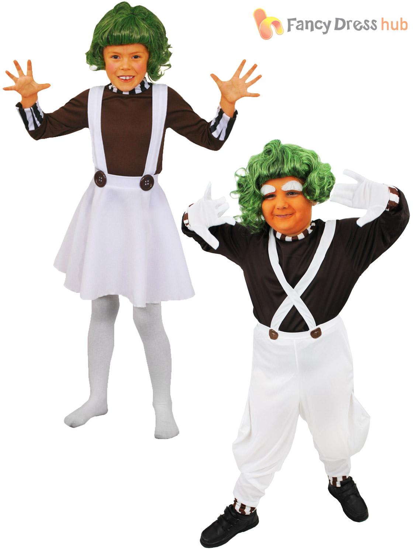 Childrens Oompa Loompa Costume Boys Girls Charlie Chocolate ...