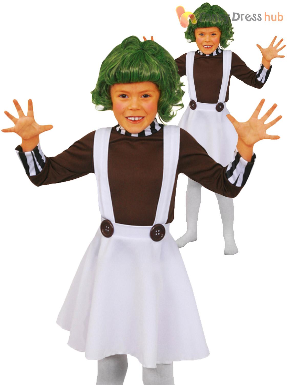 Childrens Oompa Loompa Costume Boys Girls Charlie Chocolate Factory Fancy Dress