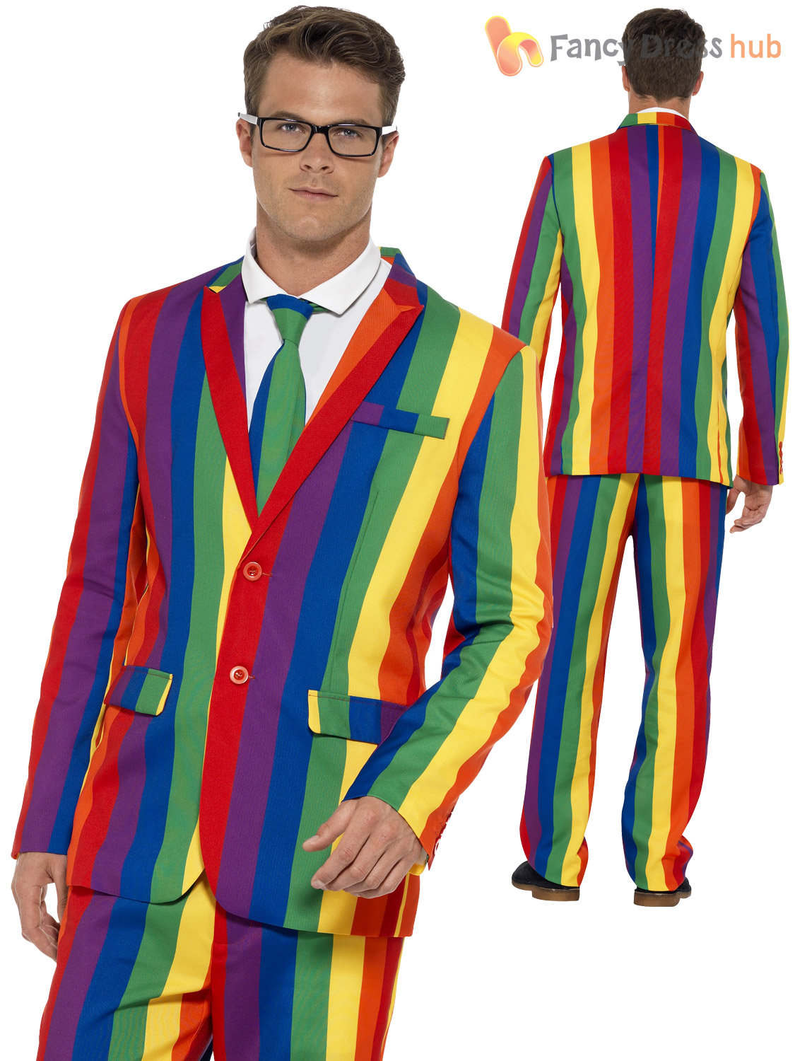 mens rainbow stand out suit adults 1980s 80s gay pride