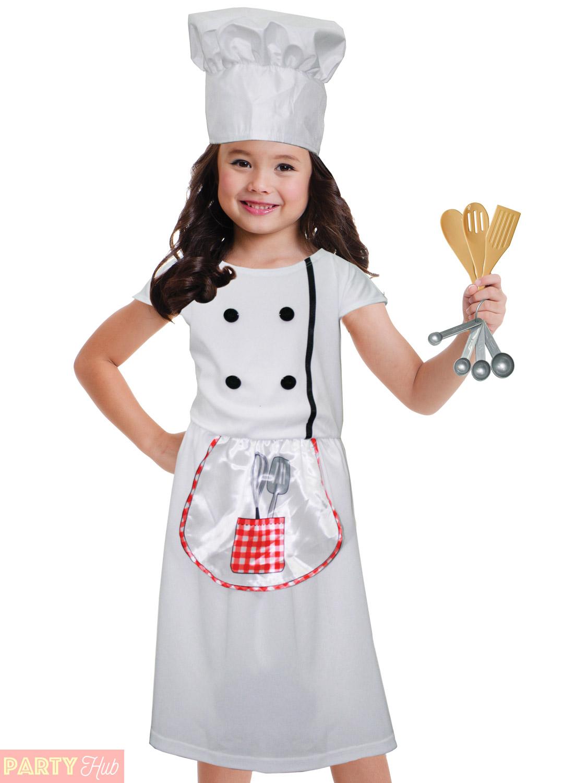 childrens chef costume girls kitchen role play fancy dress utensils book week ebay. Black Bedroom Furniture Sets. Home Design Ideas