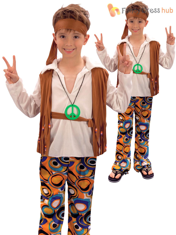 Childrens Hippy Boy Costume Kids 1970s 1960s Hippie Fancy Dress Book Week Day | eBay