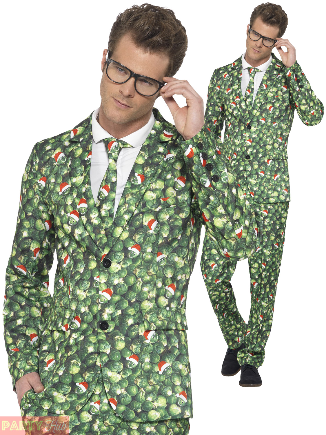 Mens Christmas Suit Brussel Sprout Pattern Funny Festive