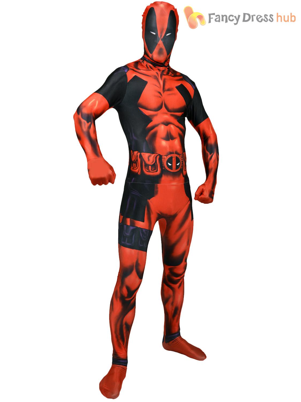 Adults Marvel Morphsuit Mens Superhero Costume Comic Novelty Stag Do Fancy Dress