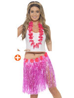 Pink Hawaiian Hula Skirt with Flowers & Lei