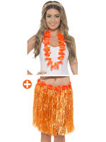 Orange Hawaiian Hula Skirt with Flowers & Lei