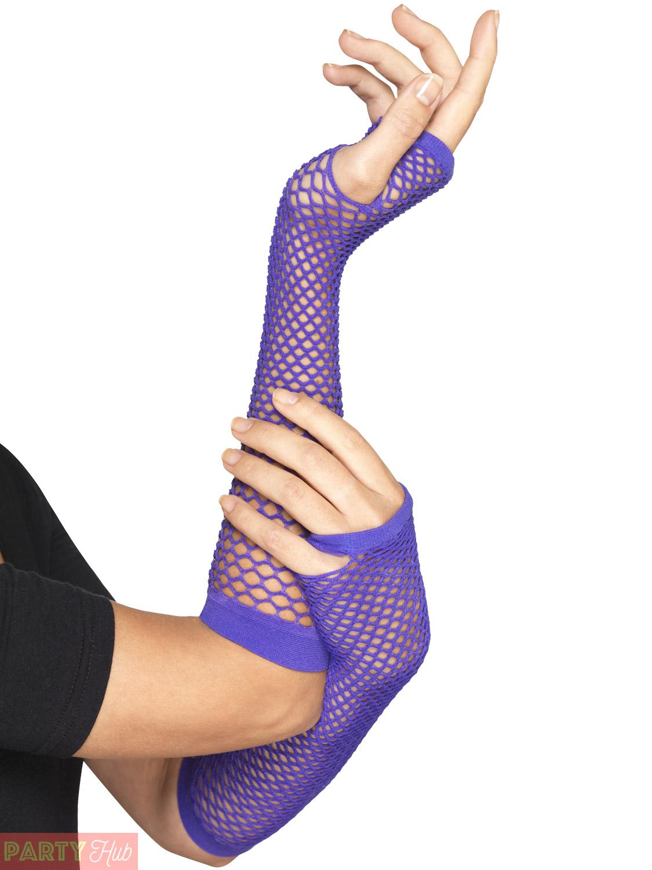 Adults-Fishnet-Gloves-Ladies-1980s-Fingerless-Fancy-Dress-Accessory-80s-Workout