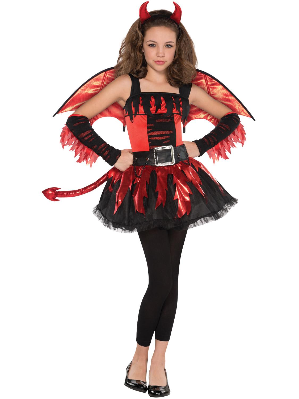 Teen Daredevil Costume Girls Red Devil Halloween Fancy Dress Costume Kids Outfit - eBay