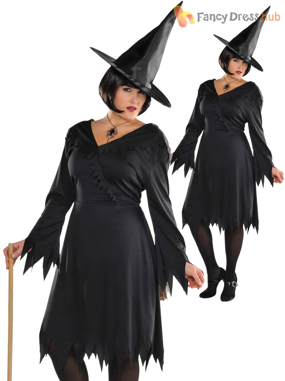 Ladies Wicked Witch Costume Adults Halloween Fancy Dress Womens ...
